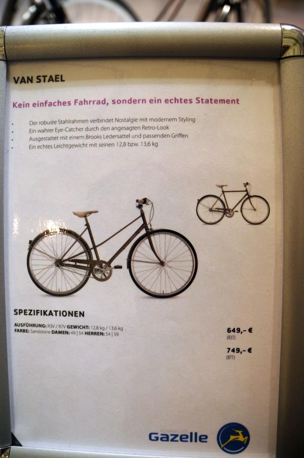 pret detalii bicicleta gazelle van stael