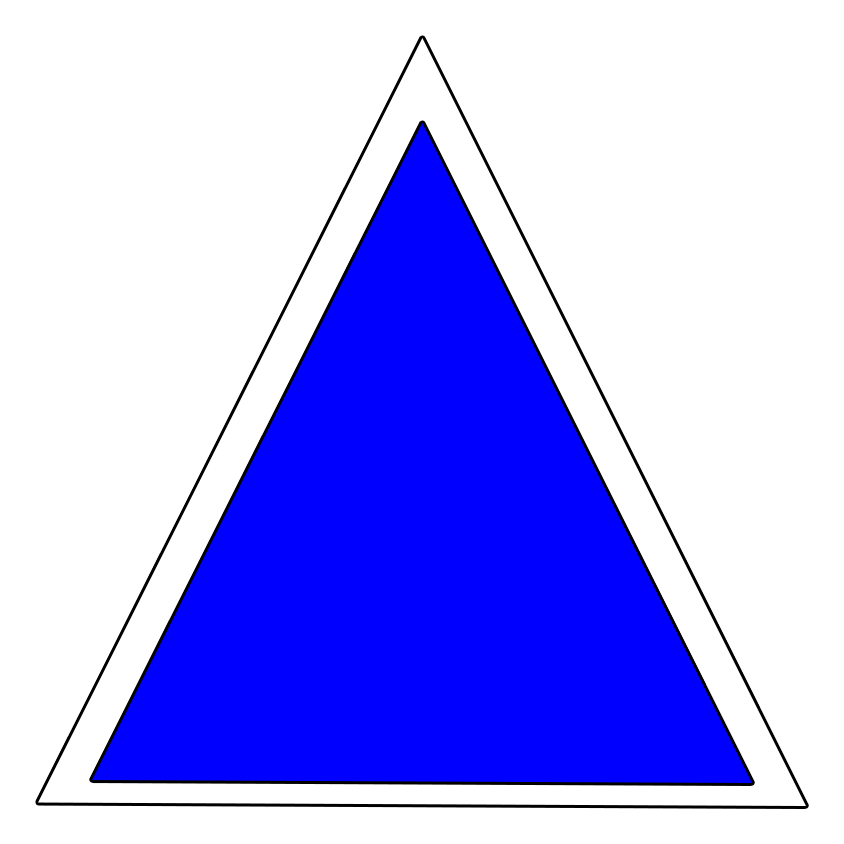 Marcaj turistic montan triunghi albastru